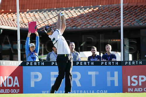 25.02.2016. Perth, Australia. ISPS HANDA Perth International Golf. Andrew Evans (AUS) hits his first shot for the tournament on tee 1 day 1.