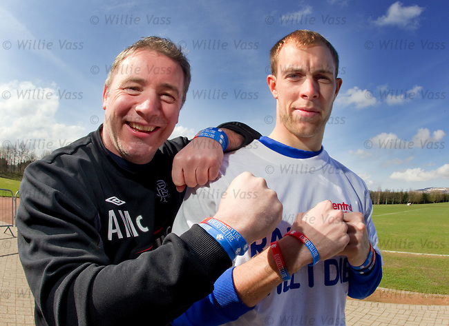 "Steven Whittaker and Ally McCoist launch the ""Rangers Till I Die"" wristbands"