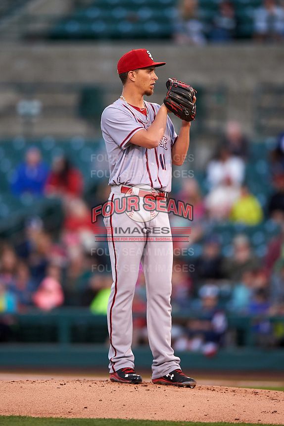 Syracuse Chiefs starting pitcher A.J. Cole (11) looks in for the sign during a game against the Rochester Red Wings on July 1, 2016 at Frontier Field in Rochester, New York.  Rochester defeated Syracuse 5-3.  (Mike Janes/Four Seam Images)
