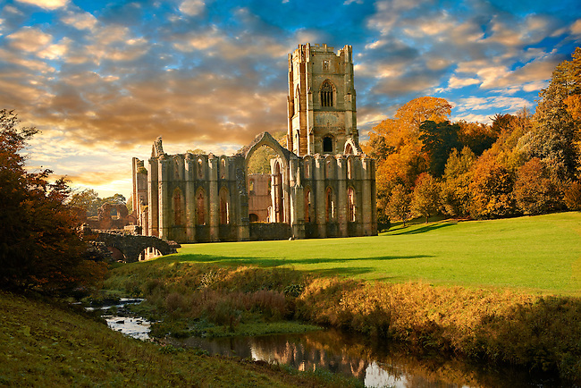 Fountains Abbey & Studley Royal water gardens, founded in 1132, is one of the largest and best preserved ruined Cistercian monasteries in England. The ruined monastery is a focal point of England's most important 18th century Water, the Studley Royal Water Garden which is a UNESCO World Heritage Site. Near Ripon, North Yorkshire, England