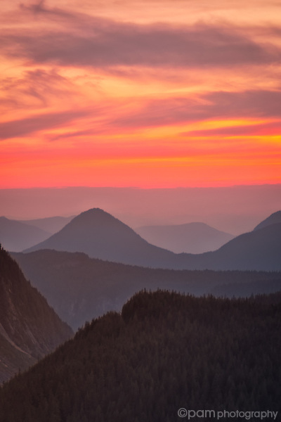 Colorful sunrise over mountains