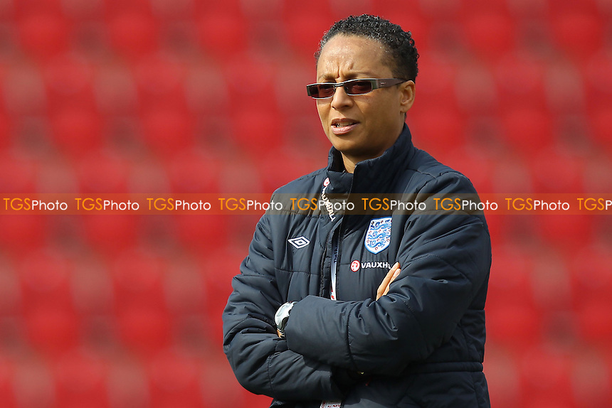 England manager Hope Powell - England Women vs Canada Women - International Football Friendly Match at the New York Stadium, Rotherham United FC - 07/04/13 - MANDATORY CREDIT: Gavin Ellis/TGSPHOTO - Self billing applies where appropriate - 0845 094 6026 - contact@tgsphoto.co.uk - NO UNPAID USE.