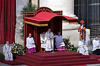 Pope Francis during  Canonization Mass for English John Henry Newman, Italian Giuseppina Vannini, Indian Maria Teresa Chiramel Mankidiyan, Brazilian Dulce Lopes Pontes, and Swiss Margarita Bays on October 13, 2019 In Saint Peter's square at the Vatican.