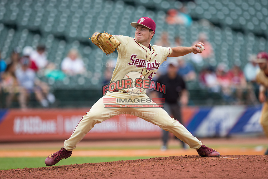 Florida State Seminoles relief pitcher Drew Parrish (43) delivers a pitch to the plate against the North Carolina Tar Heels during the 2017 ACC Baseball Championship Game at Louisville Slugger Field on May 28, 2017 in Louisville, Kentucky.  The Seminoles defeated the Tar Heels 7-3.  (Brian Westerholt/Four Seam Images)