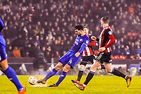 Cardiff City's midfielder Marko Grujic (24)  shoots on goal during the Sky Bet Championship match between Sheff United and Cardiff City at Bramall Lane, Sheffield, England on 2 April 2018. Photo by Stephen Buckley / PRiME Media Images.