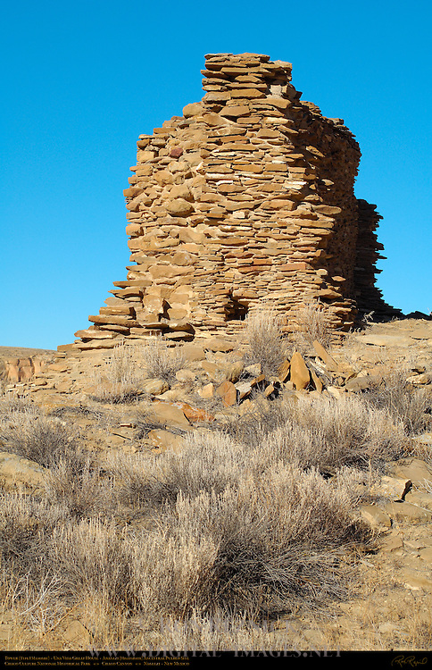 Tower, Una Vida Chacoan Great House, Anasazi Hisatsinom Ancestral Pueblo Site, Chaco Culture National Historical Park, Chaco Canyon, Nageezi, New Mexico
