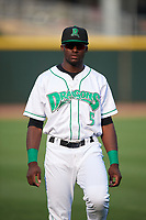 Dayton Dragons left fielder Taylor Trammell (5) during warmups before a game against the Cedar Rapids Kernels on May 10, 2017 at Fifth Third Field in Dayton, Ohio.  Cedar Rapids defeated Dayton 6-5 in ten innings.  (Mike Janes/Four Seam Images)