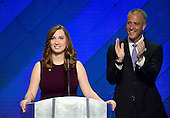 LGBT rights activist Sarah McBride makes remarks during the fourth session of the 2016 Democratic National Convention at the Wells Fargo Center in Philadelphia, Pennsylvania on Thursday, July 28, 2016.  United States Representative Sean Patrick Maloney (Democrat of New York) applauds at right.<br /> Credit: Ron Sachs / CNP<br /> (RESTRICTION: NO New York or New Jersey Newspapers or newspapers within a 75 mile radius of New York City)