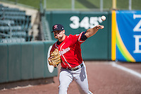Cam Hobson (33) of the Tacoma Rainiers before the game against the Salt Lake Bees in Pacific Coast League action at Smith's Ballpark on May 7, 2015 in Salt Lake City, Utah.  The Bees defeated the Rainiers 11-4 in the completion of the game that was suspended due to weather on May 6, 2015.(Stephen Smith/Four Seam Images)