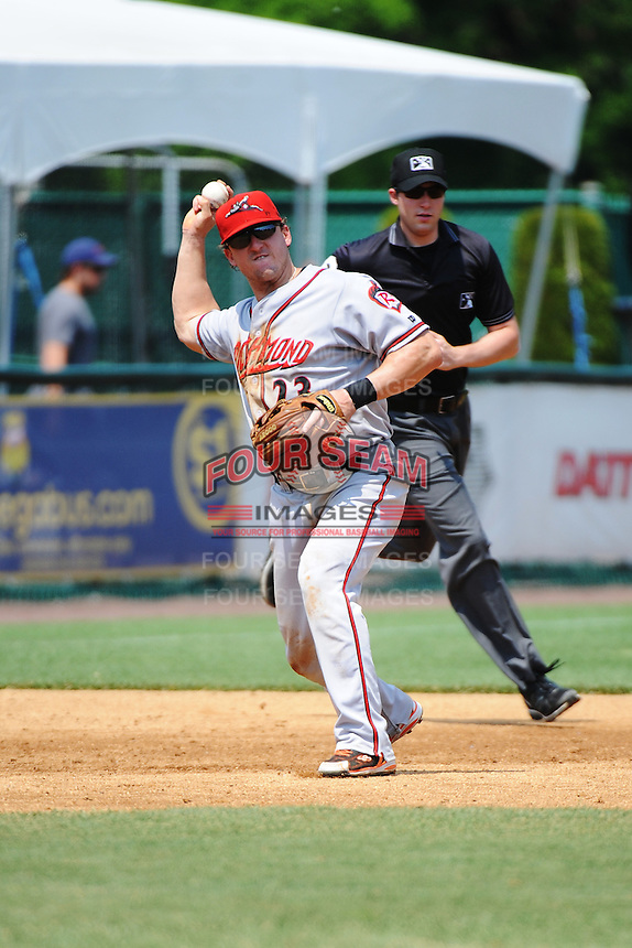 Richmond Flying Squirrels infielder  Mark Minicozzi (23) during game against the New Britain Rock Cats at New Britain Stadium on May 30, 2013 in New Britain, CT.  New Britain defeated Richmond 2-1.  (Tomasso DeRosa/Four Seam Images)