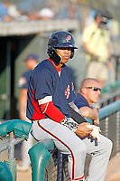 Potomac Nationals shortstop Luis Garcia (16) on deck during a game against the Myrtle Beach Pelicans at Ticketreturn.com Field at Pelicans Ballpark on July 19, 2018 in Myrtle Beach, South Carolina. Potomac defeated Myrtle Beach 6-3. (Robert Gurganus/Four Seam Images)