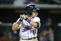 Danny Mendick (17) of the Winston-Salem Dash at bat against the Buies Creek Astros at BB&T Ballpark on June 23, 2017 in Winston-Salem, North Carolina.  The Astros defeated the Dash 3-0.  (Brian Westerholt/Four Seam Images)