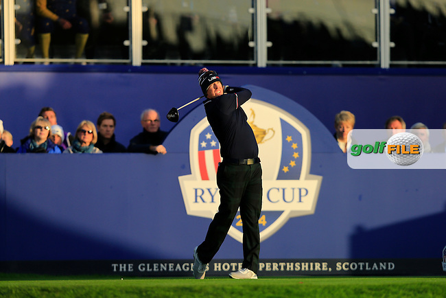 Hunter Mahan (USA) on the 1st tee during the Saturday Fourball Matches of the Ryder Cup at Gleneagles Golf Club on Saturday 27th September 2014.<br /> Picture:  Thos Caffrey / www.golffile.ie