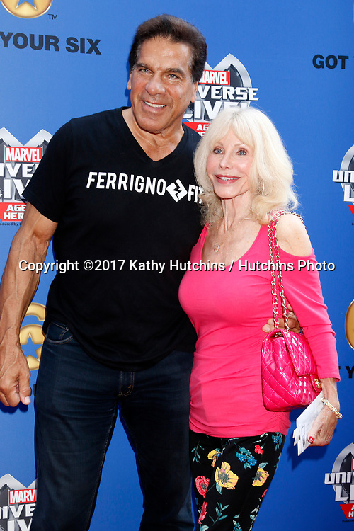 LOS ANGELES - JUL 8:  Lou Ferrigno, Carla Ferrigno at the Marvel Universe Live Red Carpet at the Staples Center on July 8, 2017 in Los Angeles, CA