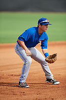 GCL Blue Jays third baseman Davis Schneider (76) during the first game of a doubleheader against the GCL Yankees East on July 24, 2017 at the Yankees Minor League Complex in Tampa, Florida.  GCL Blue Jays defeated the GCL Yankees East 6-3 in a game that originally started on July 8th.  (Mike Janes/Four Seam Images)