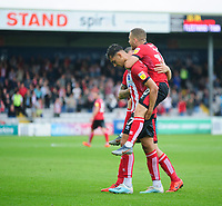 Lincoln City's Tyler Walker, left, celebrates scoring the opening goal with team-mate Harry Anderson<br /> <br /> Photographer Andrew Vaughan/CameraSport<br /> <br /> The EFL Sky Bet League One - Lincoln City v Fleetwood Town - Saturday 31st August 2019 - Sincil Bank - Lincoln<br /> <br /> World Copyright © 2019 CameraSport. All rights reserved. 43 Linden Ave. Countesthorpe. Leicester. England. LE8 5PG - Tel: +44 (0) 116 277 4147 - admin@camerasport.com - www.camerasport.com
