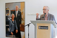 WA Democrat-Gazette/DAVID GOTTSCHALK  The new Jim and Joyce Faulkner Performing Arts Center Friday, September 18, 2015 during a ribbon cutting ceremony on the campus in Fayetteville. Jim and Joyce Faulkner made a $6 million donation to the university in 2012 specifically toward renovating and remodeling the Field House into a performing arts center.