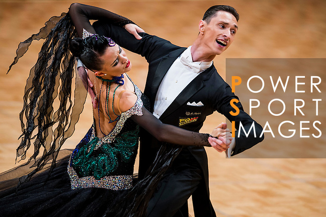 Vadim Shurin and Anastasia Meshkova of Russia during the WDSF GrandSlam Standard on the Day 2 of the WDSF GrandSlam Hong Kong 2014 on June 01, 2014 at the Queen Elizabeth Stadium Arena in Hong Kong, China. Photo by AItor Alcalde / Power Sport Images