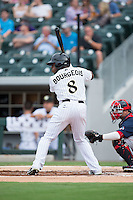 Jason Bourgeois (8) of the Charlotte Knights at bat against the Pawtucket Red Sox at BB&T BallPark on July 6, 2016 in Charlotte, North Carolina.  The Knights defeated the Red Sox 8-6.  (Brian Westerholt/Four Seam Images)