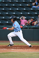 Hickory Crawdads shortstop Frainyer Chavez (11) swings at a pitch during the game with the Augusta GreenJackets at L.P. Frans Stadium on April 24, 2019 in Hickory, North Carolina.  The Crawdads defeated the GreenJackets 5-4. (Tracy Proffitt/Four Seam Images)