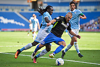 Jiri Skalak of Brighton & Hove Albion (right) and Jordan Lukaku of Lazio (left) during the Friendly match between Brighton and Hove Albion and Lazio at the American Express Community Stadium, Brighton and Hove, England on 31 July 2016. Photo by Edward Thomas / PRiME Media Images.