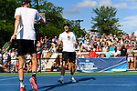 WINSTON SALEM, NC - MAY 22: Ian Dempster and Christian Seraphim of the Wake Forest Demon Deacons celebrate after winning a game against the Ohio State Buckeyes during the Division I Men's Tennis Championship held at the Wake Forest Tennis Center on the Wake Forest University campus on May 22, 2018 in Winston Salem, North Carolina. Wake Forest defeated Ohio State 4-2 for the national title. (Photo by Jamie Schwaberow/NCAA Photos via Getty Images)