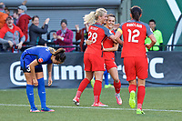 Portland, OR - Saturday May 06, 2017: Amandine Henry, Hayley Raso, Christine Sinclair celebrate during a regular season National Women's Soccer League (NWSL) match between the Portland Thorns FC and the Chicago Red Stars at Providence Park.