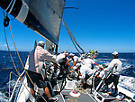 Onboard Black Jack during the day two of the Rolex rating series regatta offshore from Sydney. Black Jack a Reichel Pugh Design 66 feet built by Westerly Marine in America.
