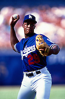 Adrian Beltre of the Los Angeles Dodgers participates in a Major League Baseball game at Dodger Stadium during the 1998 season in Los Angeles, California. (Larry Goren/Four Seam Images)