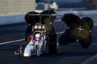 Nov. 9, 2012; Pomona, CA, USA: NHRA top alcohol dragster driver Chris Demke during qualifying for the Auto Club Finals at at Auto Club Raceway at Pomona. Mandatory Credit: Mark J. Rebilas-
