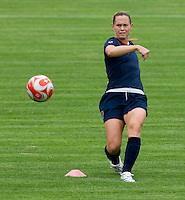 USWNT captain Christie Rampone passes the ball during practice at Beijing Normal University for the upcoming semi-final game against Japan in the 2008 Beijing Olympics in Beijing, China.