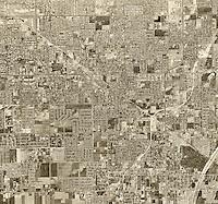 historical aerial photograph Garden Grove, Orange County, California, 1963