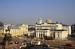 Sofia, Bulgaria; parliament on Alexander Nevsky Square with workman's caravan and lorry and statue of Nevsky.