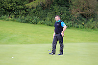 Cathal Kirby (Lisselan) on the 5th green during the AIG Jimmy Bruen Shield Final between Lisselan &amp; Waterford in the AIG Cups &amp; Shields at Carton House on Saturday 20th September 2014.<br /> Picture:  Thos Caffrey / www.golffile.ie