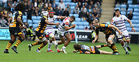 Leicester Tigers' Jonny May is tackled by Wasps' Nizaam Carr <br /> <br /> Photographer Stephen White/CameraSport<br /> <br /> Gallagher Premiership - Wasps v Leicester Tigers - Sunday 16th September 2018 - Ricoh Arena - Coventry<br /> <br /> World Copyright &copy; 2018 CameraSport. All rights reserved. 43 Linden Ave. Countesthorpe. Leicester. England. LE8 5PG - Tel: +44 (0) 116 277 4147 - admin@camerasport.com - www.camerasport.com