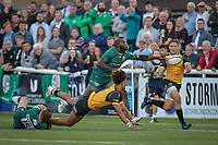 Guy Armitage of Ealing Trailfinders (2nd left) passes the ball after being tackled by Greig Tonks of London Irish during the Greene King IPA Championship match between Ealing Trailfinders and London Irish Rugby Football Club  at Castle Bar, West Ealing, England  on 1 September 2018. Photo by David Horn.