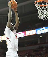 NWA Media/ J.T. Wampler -Arkansas' Bobby Portis dunks after stealing the ball from Utah Valley Saturday Jan. 3, 2015 at Bud Walton Arena in Fayetteville. The Hogs won 79-46.