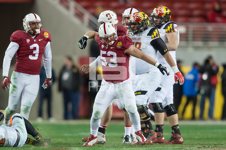 SANTA CLARA, CA - DECEMBER 30, 2014: Torsten Rotto during Stanford's game against Maryland in the 2014 Foster Farms Bowl.  The Cardinal defeated the Terrapins 45-21.