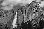 """""""Bird's Eye"""" Black and White, Yosemite Falls Waterfall, Yosemite National Park, California. I spent two weeks in the Spring of 2013 climbing up the opposite canyon's wall in order to get an angle that captured all three sections of the waterfall. In this photo you can see a bird flying towards the waterfall on left side in the sky. I learned on the Yosemite National Park's website that no one had a photograph of the middle section of the waterfall.  Their description of the middle section is """"often ignored middle section""""  All other photographers only have photographs showing an angle that has the upper and lower sections in view.  I had to climb down and return moving further up the canyon to get an angle to see directly into the middle section."""