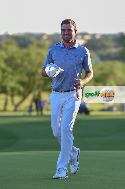 Corey Conners (CAN) arrives back to the green on 18 for the trophy presentation after winning the Valero Texas Open, at the TPC San Antonio Oaks Course, San Antonio, Texas, USA. 4/7/2019.<br /> Picture: Golffile | Ken Murray<br /> <br /> <br /> All photo usage must carry mandatory copyright credit (© Golffile | Ken Murray)
