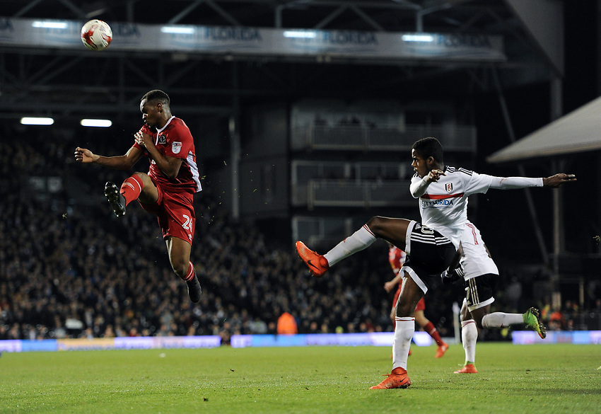 Fulham's Ryan Sessegnon under pressure from Blackburn Rovers' Ryan Nyambe<br /> <br /> Photographer /Ashley WesternCameraSport<br /> <br /> The EFL Sky Bet Championship - Fulham v Blackburn Rovers - Tuesday 14th March 2017 - Craven Cottage - London<br /> <br /> World Copyright &copy; 2017 CameraSport. All rights reserved. 43 Linden Ave. Countesthorpe. Leicester. England. LE8 5PG - Tel: +44 (0) 116 277 4147 - admin@camerasport.com - www.camerasport.com
