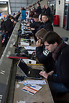 Morecambe 0 Plymouth Argyle 2, 25/03/2016. Globe Arena, League 2. Journalists working at the Globe Arena before Morecambe hosted Plymouth Argyle in a League 2 fixture. The stadium was opened in 2010 and replaced Morecambe's traditional home of Christie Park which had been their home since 1921, the year after their foundation. Plymouth won this fixture by 2-0 watched by 2,081 spectators, in a game delayed by 30 minutes due to traffic congestion affecting travelling Argyle fans.  Photo by Colin McPherson.