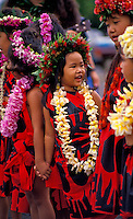 EDITORIAL ONLY. Young performer at Kamehameha festivities. Kauai