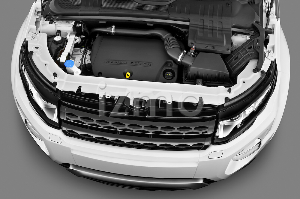 High angle engine detail of a 2011 Land Rover Range Rover Evoque SUV  .