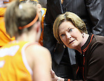 Tennessee head coack Pat Summitt speaks to her team during a time out in the first half of an NCAA college basketball game in Nashville, Tenn., Monday, Feb. 8, 2010.  (AP Photo/Frederick Breedon)