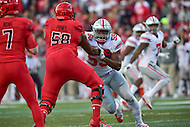 College Park, MD - NOV 12, 2016: Ohio State Buckeyes defensive end Tyquan Lewis (59) rushes the passer against Maryland Terrapins offensive lineman Damian Prince (58) during game between Maryland and Ohio State at Capital One Field at Maryland Stadium in College Park, MD. (Photo by Phil Peters/Media Images International)
