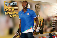 Il velocista giamaicano Usain Bolt tiene una conferenza stampa a Roma, 24 maggio 2011, in occasione della sua partecipazione al Compeed Golden Gala Diamond League di atletica leggera in programma allo stadio Olimpico il 26 maggio..Jamaican sprinter Usain Bolt attend a press conference in Rome, 24 may 2011, ahead of his taking part to the athletics Compeed Golden Gala Diamond League meeting scheduled at the Olympic stadium on may 26..UPDATE IMAGES PRESS/Riccardo De Luca