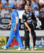 8th February 2019, Eden Park, Auckland, New Zealand;  Kane Williamson and India's Rohit Sharma discuss the wicket of Mitchell.<br /> New Zealand v India in the Twenty20 International cricket, 2nd T20.