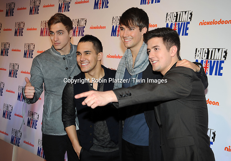 "Big Time Rush""s Kendal Schmidt, Carlos Pena, Jr, Logan Henderson and James Maslow attend The movie premiere of "" Big Time Movie"" starring .Big Time Rush of Nickelodeon on March 8, 2012 at 583 Park Avenue in New York City."