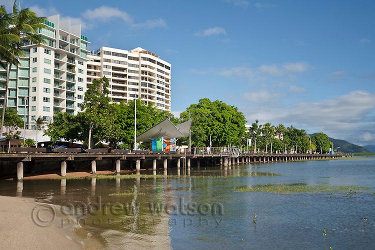 The Esplanade boardwalk and city skyline.  Cairns, Queensland, Australia